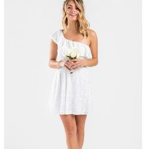 Francescas NEW White One sleeve dress
